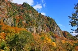 秋山郷 布岩の紅葉の写真素材 [FYI04829342]