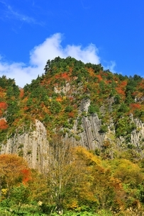 秋山郷 布岩の紅葉の写真素材 [FYI04829353]