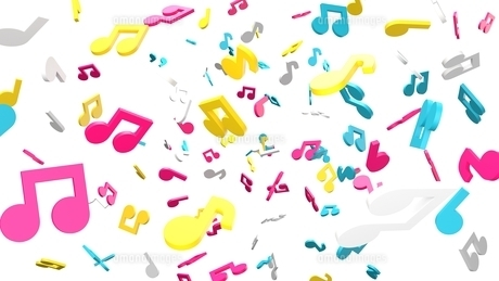 Colorful musical notes on white background. 3D rendering abstract illustration.のイラスト素材 [FYI04829551]