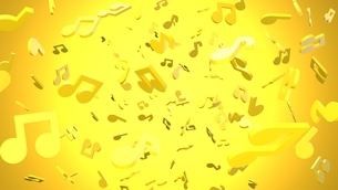 Yellow musical notes on yellow background. 3D rendering abstract illustration.のイラスト素材 [FYI04829564]