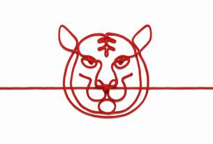 赤い紐でつくった寅(トラ)のイメージの写真素材 [FYI04830017]