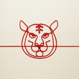 赤い紐でつくった寅(トラ)のイメージの写真素材 [FYI04830019]
