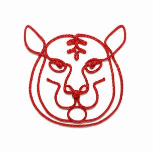 赤い紐でつくった寅(トラ)のイメージの写真素材 [FYI04830020]