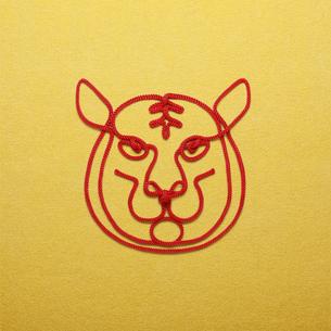赤い紐でつくった寅(トラ)のイメージの写真素材 [FYI04830021]