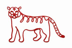 赤い紐でつくった寅(トラ)のイメージの写真素材 [FYI04830023]