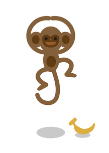 サルがジャンプしてOKしているところのイラスト素材 [FYI04830385]