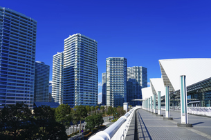 横浜みなとみらい地区のパシフィコ横浜と高層マンション群の写真素材 [FYI04831330]