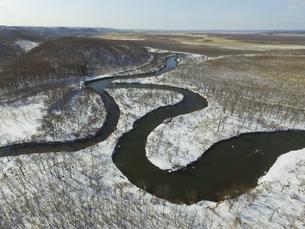 空撮・冬の釧路湿原(北海道・標茶町)の写真素材 [FYI04831409]
