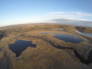 空撮・秋の釧路湿原(北海道・標茶町)の写真素材 [FYI04831432]