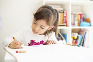 クレヨンで絵を描いている女の子の写真素材 [FYI04832777]