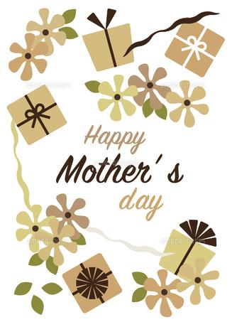 プレゼントとお花の母の日カードのイラスト素材 [FYI04832873]