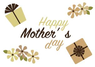 プレゼントと花のシンプルな母の日カードのイラスト素材 [FYI04832874]