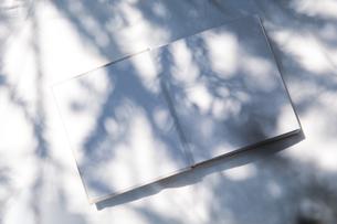 自然光と植物の影が差し込む、白のファブリックに置かれた本の写真素材 [FYI04832959]