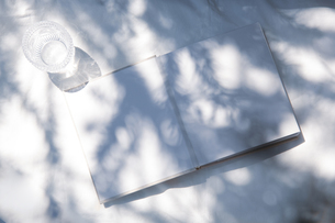 自然光と植物の影が差し込む、白のファブリックに置かれた本の写真素材 [FYI04832960]