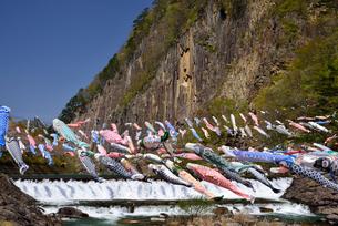 材木岩と鯉のぼりの写真素材 [FYI04834049]