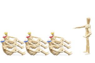 ハチマキをつけて体育座りするデッサン人形の写真素材 [FYI04834255]