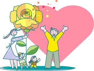 父の日の黄色いバラと家族のイラスト素材 [FYI04834675]