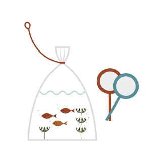 金魚すくいとポイのイラスト素材 [FYI04835231]
