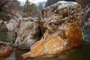 【地学教材】12月 足尾山地大芦川のタイガーロック(虎岩)の写真素材 [FYI04835561]