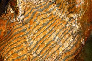 【地学教材】12月 褶曲構造 -足尾山地のチャート層の例の写真素材 [FYI04835565]