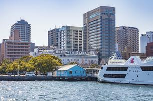 山下公園発着のクルーズ船マリーンルージュとホテルニューグランドの写真素材 [FYI04835575]