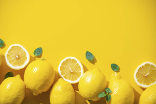 Lemons on yellow background.の写真素材 [FYI04835742]