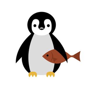魚を抱えている太ったペンギンのイラスト素材 [FYI04835956]