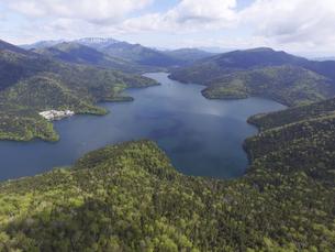 空撮・初夏の然別湖(北海道・鹿追町)の写真素材 [FYI04836303]