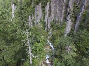 空撮・夏の紅葉谷渓谷(北海道・層雲峡)の写真素材 [FYI04836312]