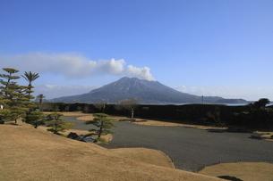 仙巌園の日本庭園と噴煙を上げる桜島の写真素材 [FYI04836348]