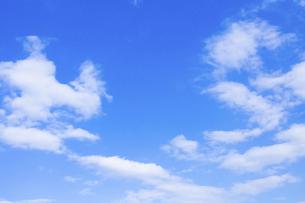 センタースペースのある青空と雲の写真素材 [FYI04836645]