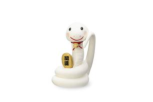 招き猫の真似をする白いヘビの写真素材 [FYI04837019]