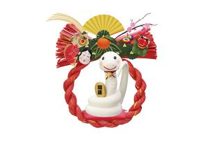 招き猫のまねをする白いヘビの赤いしめ縄飾りの写真素材 [FYI04837051]
