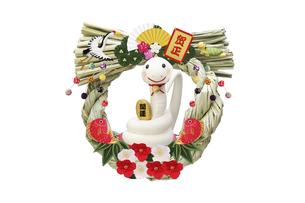 招き猫の真似をする白いヘビのしめ縄飾りの写真素材 [FYI04837052]