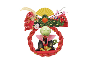 新年のあいさつをするヘビと赤いしめ縄飾りの写真素材 [FYI04837370]