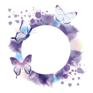 蝶のシルエットと抽象フレームのイラスト素材 [FYI04837464]