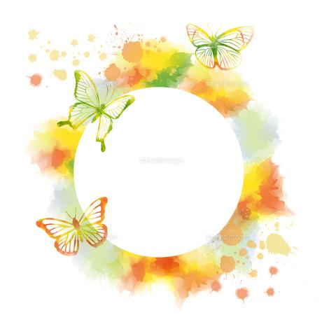 蝶のシルエットと抽象フレームのイラスト素材 [FYI04837476]