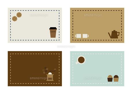 カフェの名刺フレームイラストセットのイラスト素材 [FYI04837486]