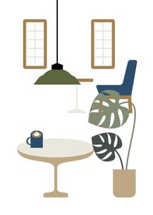 テーブルと観葉植物のあるインテリアのイラスト素材 [FYI04837487]