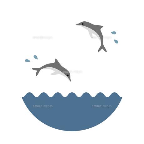 海と飛び跳ねるイルカのイラスト素材 [FYI04837654]