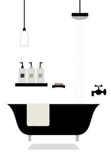 シャワーとバスタブのイラスト素材 [FYI04837731]