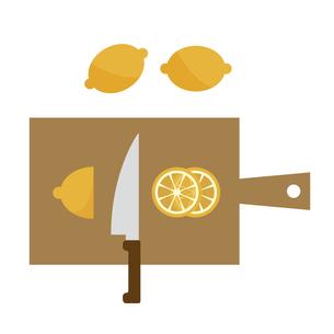 レモンをスライスしているところのイラスト素材 [FYI04837734]