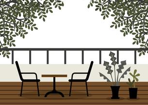 テラスとテーブルセットのイラスト素材 [FYI04837735]