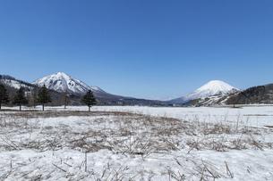 北海道 初春の羊蹄山と尻別岳の風景の写真素材 [FYI04837784]