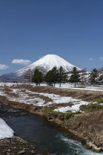 北海道 初春の羊蹄山の風景の写真素材 [FYI04837787]