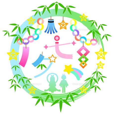 七夕祭りの装飾枠のイラスト【七夕のロゴ】のイラスト素材 [FYI04837966]