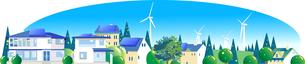 エコタウンの風車とソーラーパネルのイラスト素材 [FYI04838112]
