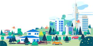 緑の都市と街のフラットな風景イラストのイラスト素材 [FYI04838113]