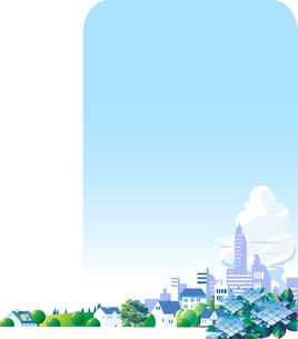 雨上がりの紫陽花の街と雲のイラスト素材 [FYI04838114]
