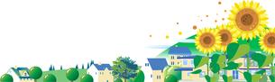 ヒマワリが咲く緑豊かな夏の街並みのイラスト素材 [FYI04838115]
